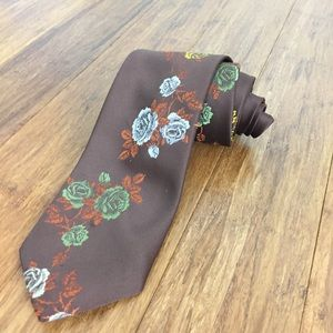 Vintage Brown Floral Tie